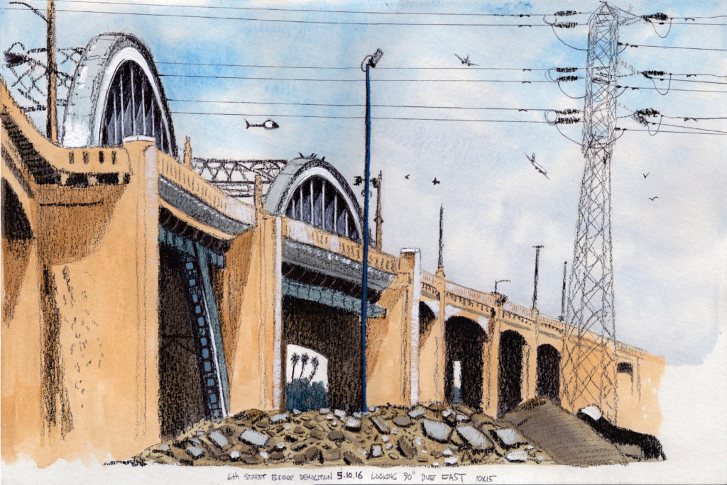 6th Street Bridge Demolition 5.10.16 Looking 90 Degrees Due East 2016 Ink, goauche and china marker on paper 10x15 inches