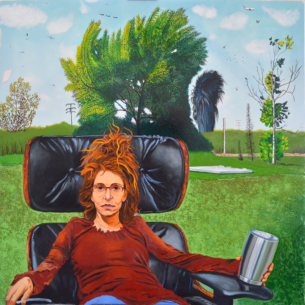 Maura at Ballona in Eames Chair With Tea 2016 o/c 54x54 inches